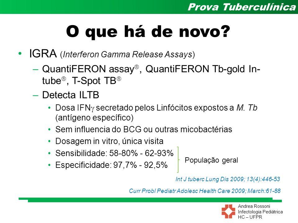 Andrea Rossoni Infectologia Pediátrica HC – UFPR Prova Tuberculínica O que há de novo? IGRA (Interferon Gamma Release Assays) –QuantiFERON assay , Qu