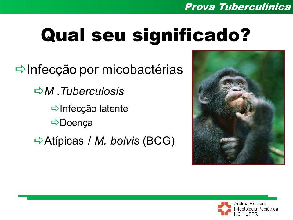 Andrea Rossoni Infectologia Pediátrica HC – UFPR Prova Tuberculínica Influência do BCG Influenciado pelo BCG 50% dos vacinados – PT + Até 14mm 2 a 3 anos depois 80 a 90% negativam Considerar: –Vacinados < 2 anos PT  15 mm –Vacinados > 2 anos PT  10 mm Am Ver Respir Dis 1992; 146(3):752-6 Chest 1980; 77(1):32-7
