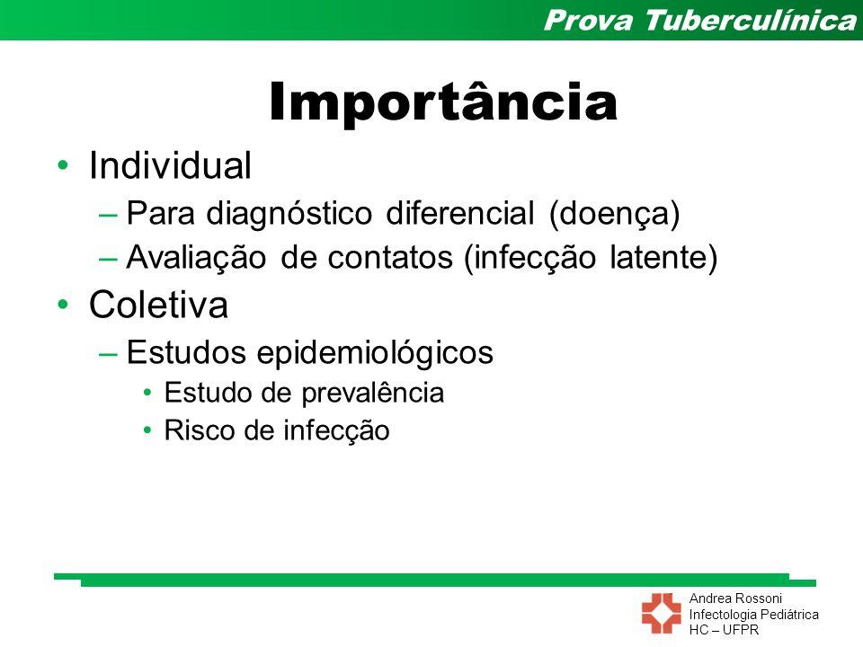Andrea Rossoni Infectologia Pediátrica HC – UFPR Prova Tuberculínica Resultado depende:  Tuberculina  Tipo  Concentração  Potência  Volume injetado  Técnica de aplicação  Fatores ligado ao hospedeiro