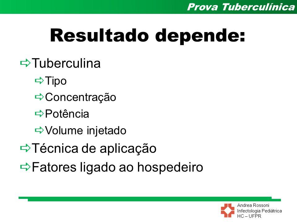 Andrea Rossoni Infectologia Pediátrica HC – UFPR Prova Tuberculínica Resultado depende:  Tuberculina  Tipo  Concentração  Potência  Volume injeta