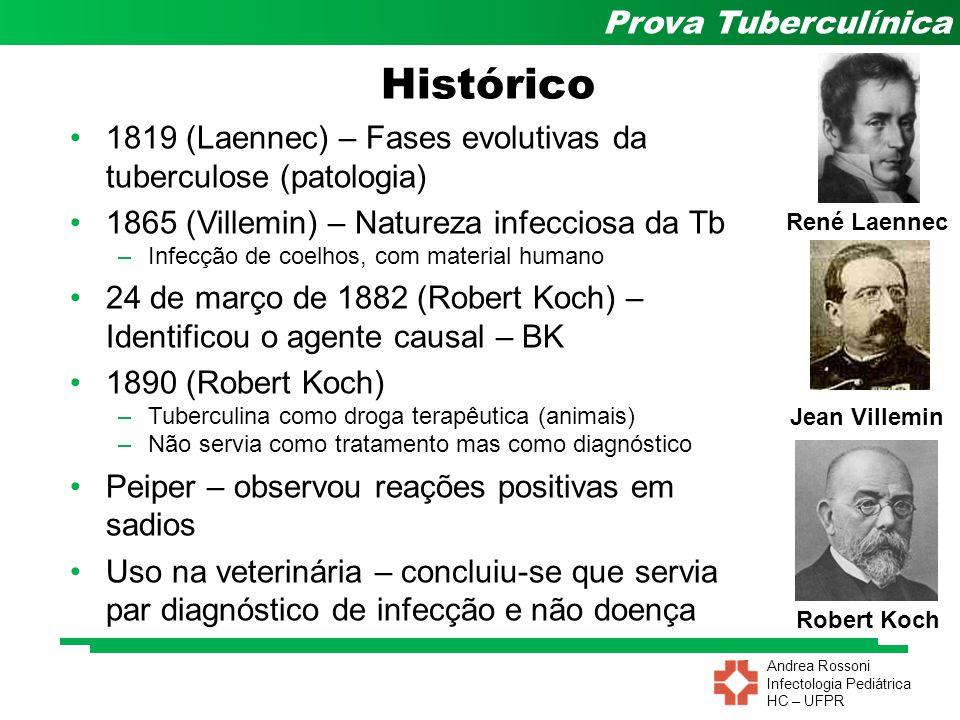 Andrea Rossoni Infectologia Pediátrica HC – UFPR Prova Tuberculínica Old Tuberculin – OT (Koch) –Tuberculoproteína – fração ativa Mais de 50 tipos Tentativas de purificação –TPT (Seibert e Munday em 1932) – princípio ativo –PPD (Seibert em 1934) Necessidade de padronização –PPD – S (Seibert e Glenn em 1934) OMS em 1952 –PPD – Rt 23 (OMS em 1951) Evolução das Tuberculinas