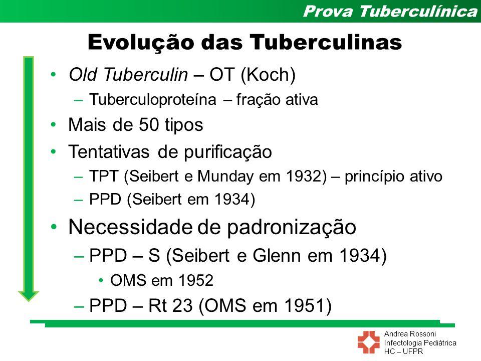Andrea Rossoni Infectologia Pediátrica HC – UFPR Prova Tuberculínica Tipos de Tuberculina CRUAS – não foram tratadas por ácidos –OT, TAF (Tuberkulin Albumose Frei) PURIFICADAS – são precipitadas por ácidos porém sem prévia diálise –IP 48, GT DERIVADAS – são dializadas e a seguir precipitadas –Ac.