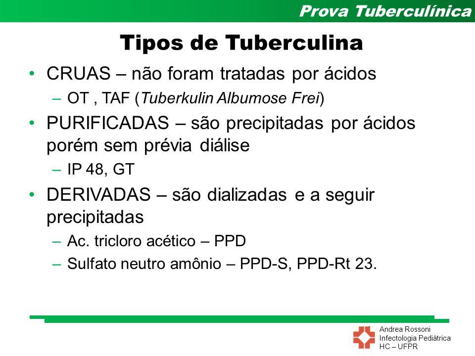 Andrea Rossoni Infectologia Pediátrica HC – UFPR Prova Tuberculínica OMS – 1958 PPD - Rt 23 - tween 80 –Serum Institute Copenhagem- Dinamarca –Tween 80 (diluente) Estabilizante Reforça as reações específicas –Brasil: 2UT (0,1ml) Cuidados: –4 a 8ºC (inativada com t>20ºC) –Protegida da luz solar –6 m Tuberculina Atual
