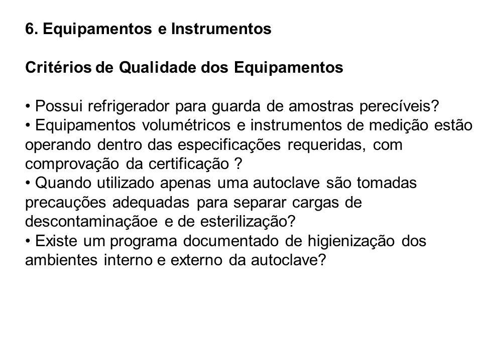 6. Equipamentos e Instrumentos Critérios de Qualidade dos Equipamentos Possui refrigerador para guarda de amostras perecíveis? Equipamentos volumétric