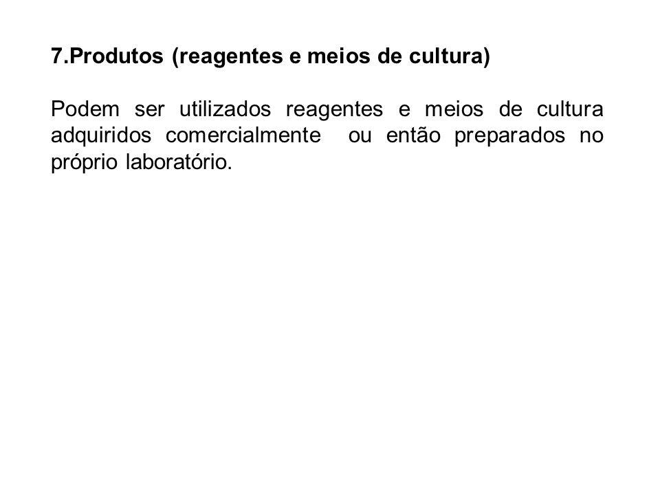 7.Produtos (reagentes e meios de cultura) Podem ser utilizados reagentes e meios de cultura adquiridos comercialmente ou então preparados no próprio l