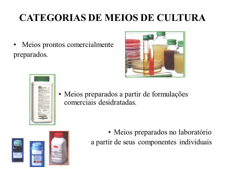 CATEGORIAS DE MEIOS DE CULTURA Meios prontos comercialmente preparados. Meios preparados a partir de formulações comerciais desidratadas. Meios prepar