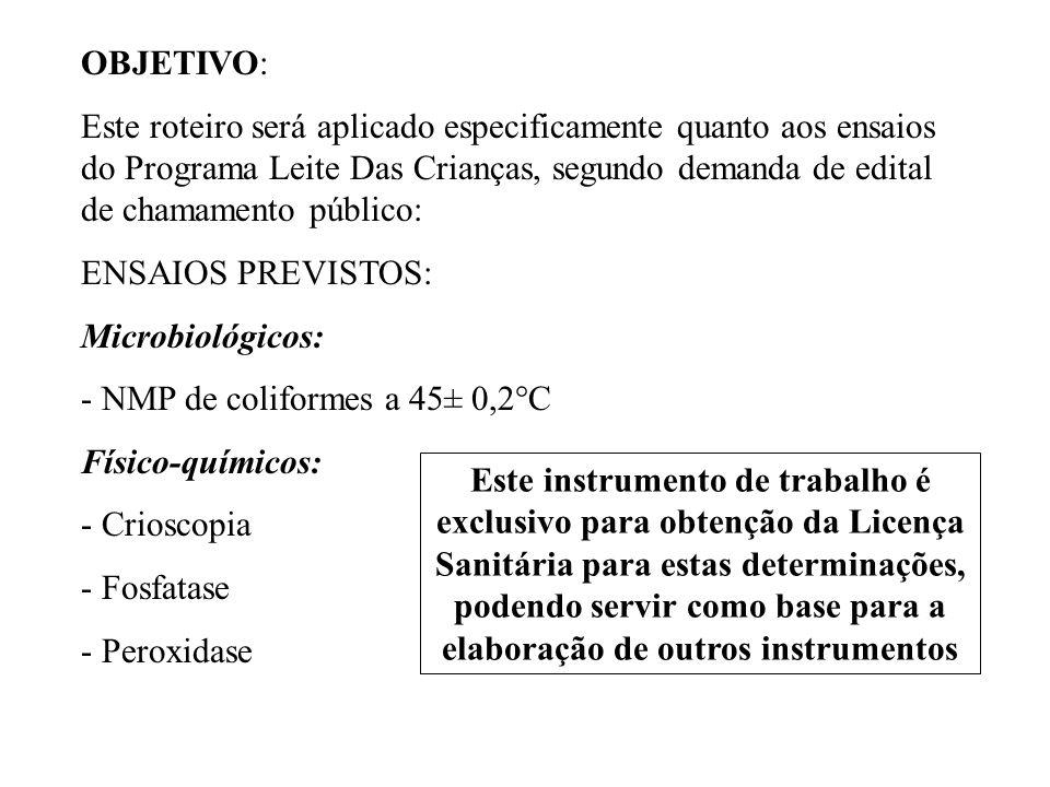 ROTEIRO DE INSPECÇÃO PARA LABORATÓRIOS DE ANÁLISES CLÍNICAS DA SESA/PR ROTEIRO DE INSPECÇÃO PARA LABORATÓRIOS DE ANÁLISES DE ÁGUA DO LACEN/SESA/PR SÉRIES TEMÁTICAS DA ANVISA (www.anvisa.gov.br) - Guia para qualidade em química analítica - Habilitação para Laboratórios de Microbiologia FICHA DE INSPEÇÃO DE ESTABELECIMENTOS NA ÁREA DE ALIMENTOS DA SECRETARIA DE ESTADO DE SAÚDE DE SÃO PAULO DOCUMENTOS UTILIZADOS COMO REFERÊNCIA PARA ELABORAÇÃO DESTA PROPOSTA: