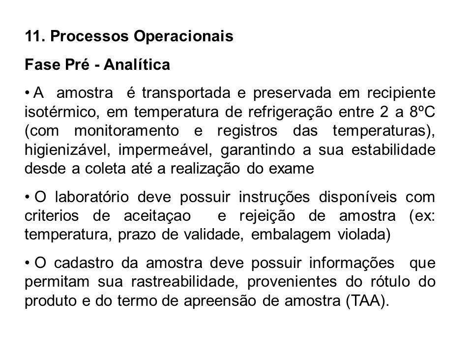 11. Processos Operacionais Fase Pré - Analítica A amostra é transportada e preservada em recipiente isotérmico, em temperatura de refrigeração entre 2
