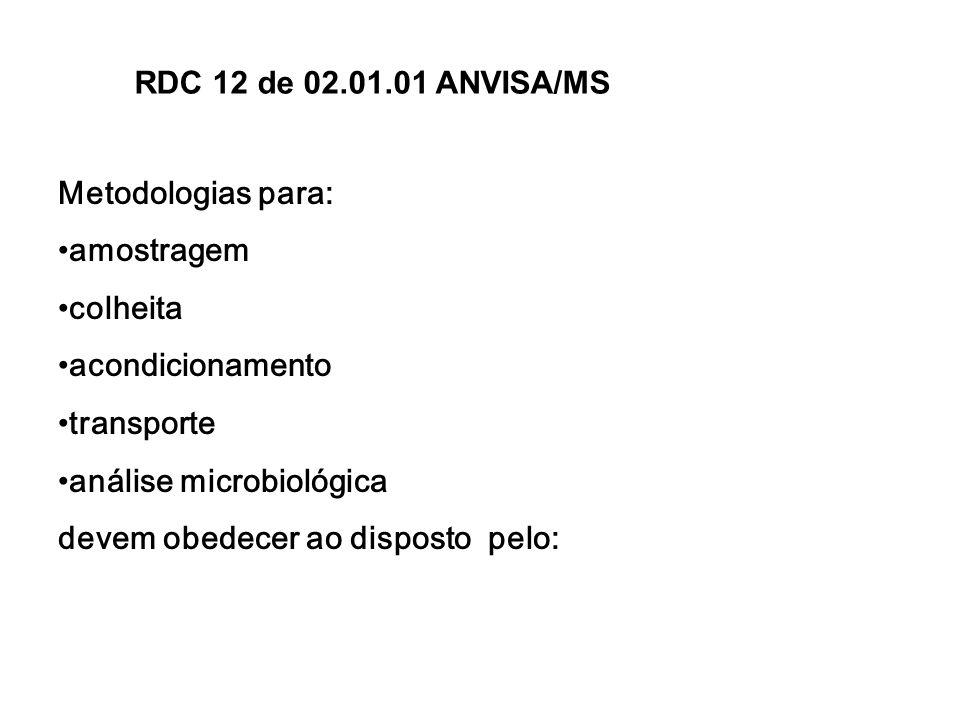 Metodologias para: amostragem colheita acondicionamento transporte análise microbiológica devem obedecer ao disposto pelo: RDC 12 de 02.01.01 ANVISA/M
