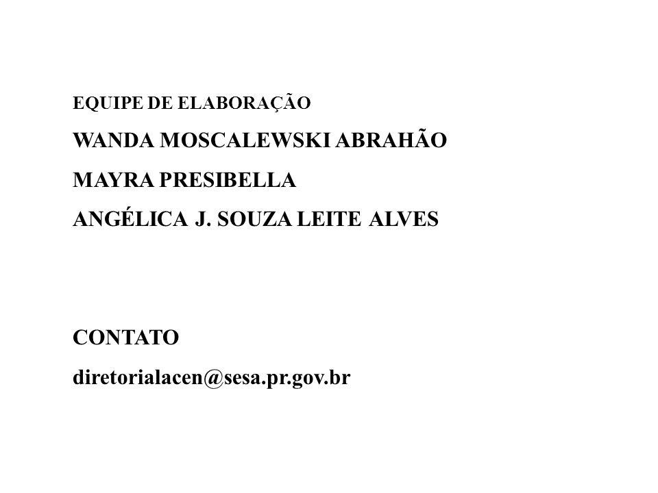 EQUIPE DE ELABORAÇÃO WANDA MOSCALEWSKI ABRAHÃO MAYRA PRESIBELLA ANGÉLICA J. SOUZA LEITE ALVES CONTATO diretorialacen@sesa.pr.gov.br