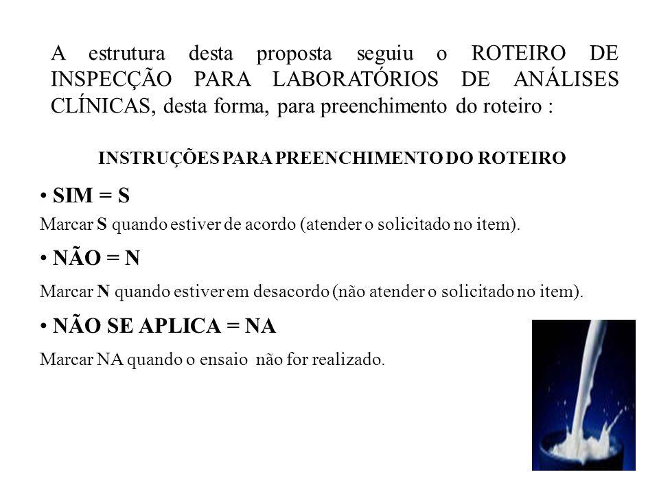 A estrutura desta proposta seguiu o ROTEIRO DE INSPECÇÃO PARA LABORATÓRIOS DE ANÁLISES CLÍNICAS, desta forma, para preenchimento do roteiro : INSTRUÇÕ