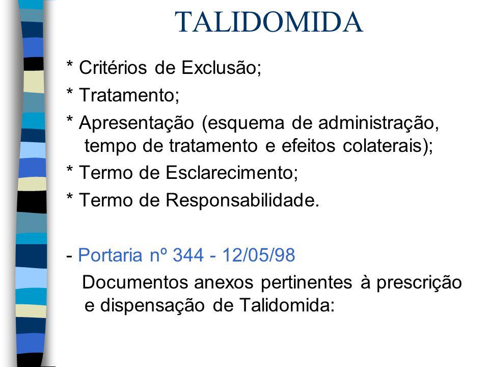 TALIDOMIDA * Critérios de Exclusão; * Tratamento; * Apresentação (esquema de administração, tempo de tratamento e efeitos colaterais); * Termo de Escl