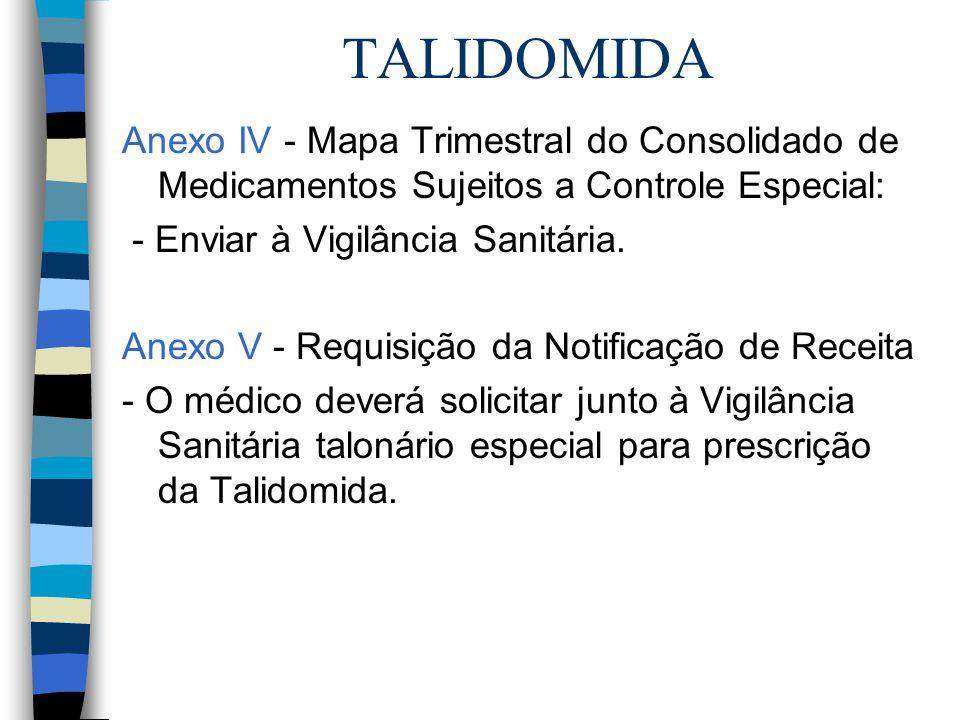 TALIDOMIDA Anexo IV - Mapa Trimestral do Consolidado de Medicamentos Sujeitos a Controle Especial: - Enviar à Vigilância Sanitária. Anexo V - Requisiç