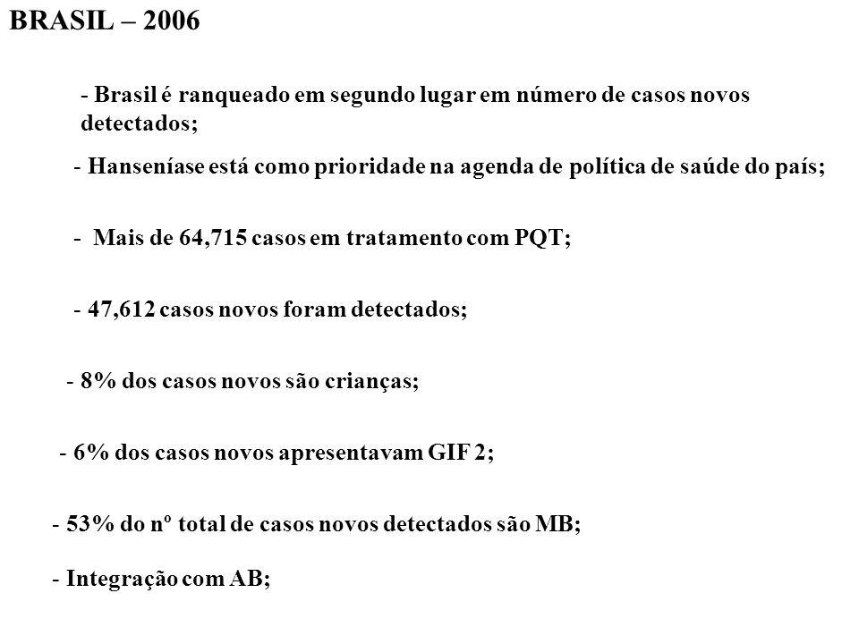 BRASIL – 2006 - Brasil é ranqueado em segundo lugar em número de casos novos detectados; - Hanseníase está como prioridade na agenda de política de saúde do país; - Mais de 64,715 casos em tratamento com PQT; - 47,612 casos novos foram detectados; - 8% dos casos novos são crianças; - 6% dos casos novos apresentavam GIF 2; - 53% do nº total de casos novos detectados são MB; - Integração com AB;