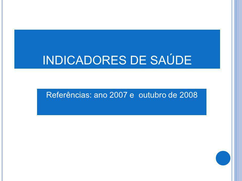 INDICADORES DE SAÚDE Referências: ano 2007 e outubro de 2008