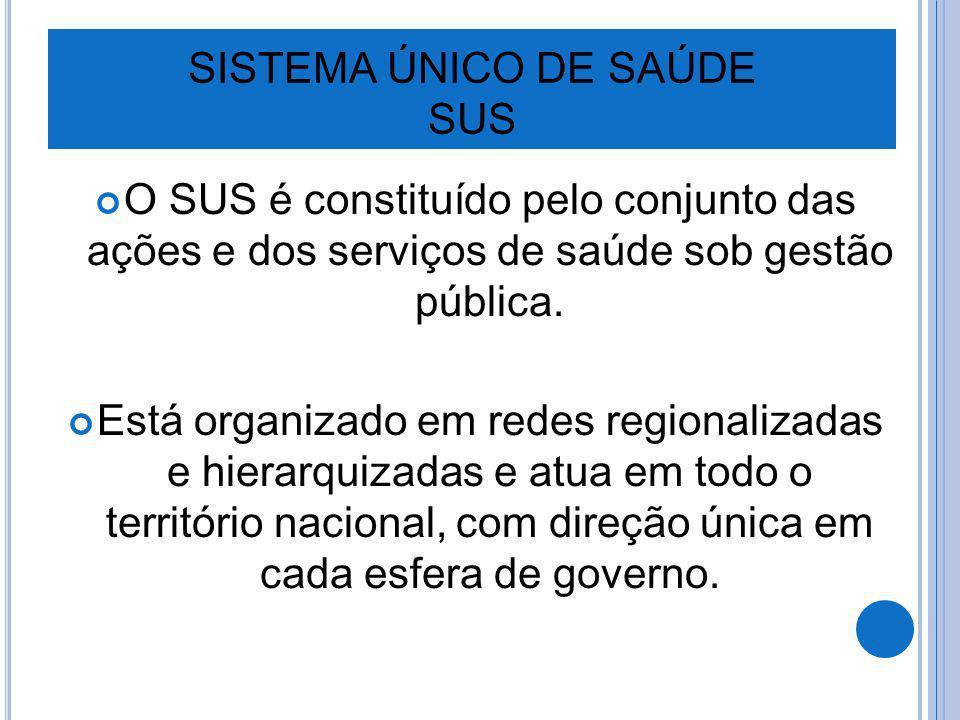 SISTEMA ÚNICO DE SAÚDE SUS O SUS é constituído pelo conjunto das ações e dos serviços de saúde sob gestão pública. Está organizado em redes regionaliz