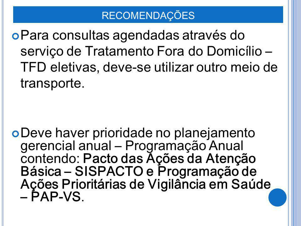 RECOMENDAÇÕES Para consultas agendadas através do serviço de Tratamento Fora do Domicílio – TFD eletivas, deve-se utilizar outro meio de transporte. D