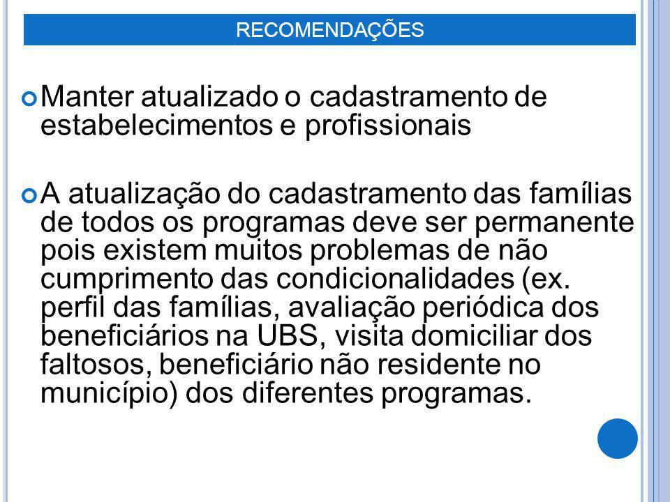 Manter atualizado o cadastramento de estabelecimentos e profissionais A atualização do cadastramento das famílias de todos os programas deve ser perma