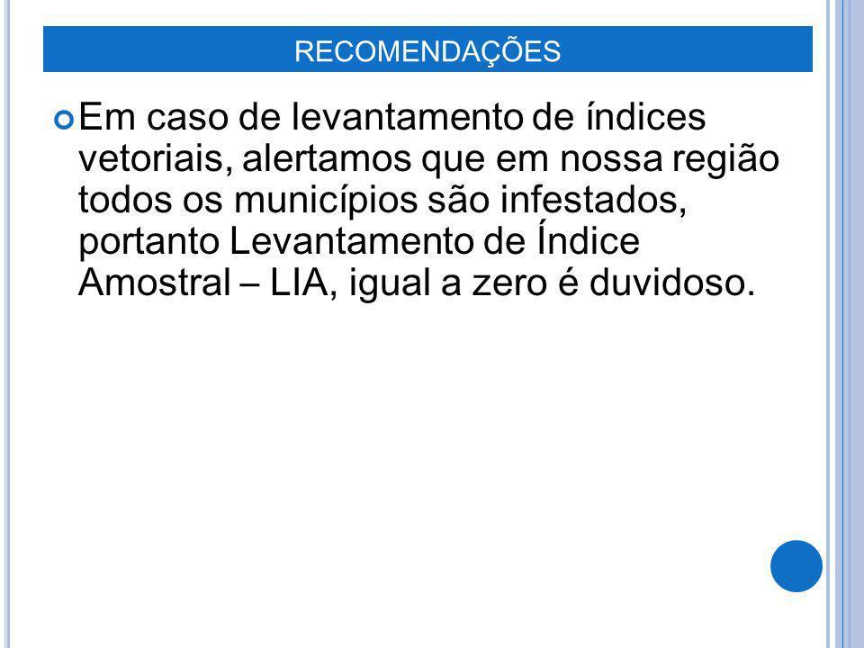 Em caso de levantamento de índices vetoriais, alertamos que em nossa região todos os municípios são infestados, portanto Levantamento de Índice Amostr