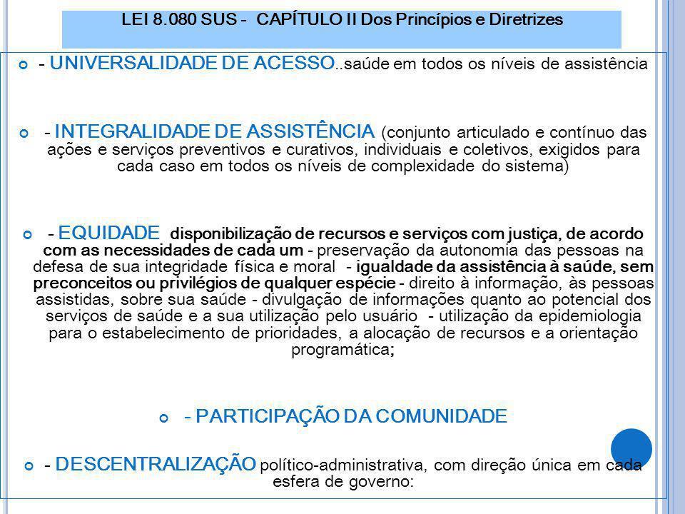 LEI 8.080 SUS - CAPÍTULO II Dos Princípios e Diretrizes - UNIVERSALIDADE DE ACESSO..saúde em todos os níveis de assistência - INTEGRALIDADE DE ASSISTÊ