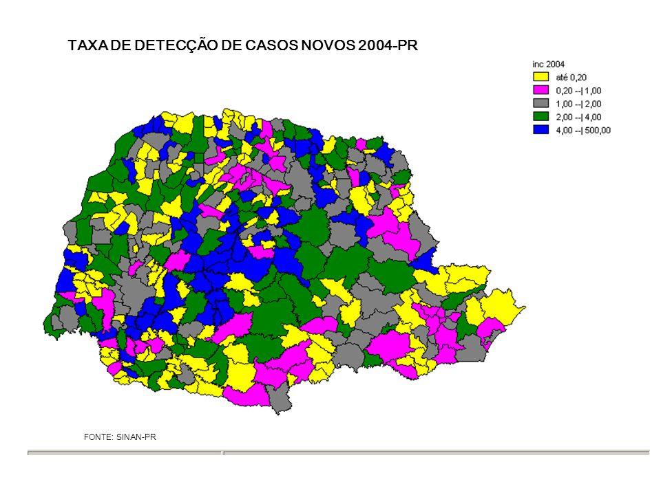TAXA DE DETECÇÃO DE CASOS NOVOS 2004-PR FONTE: SINAN-PR
