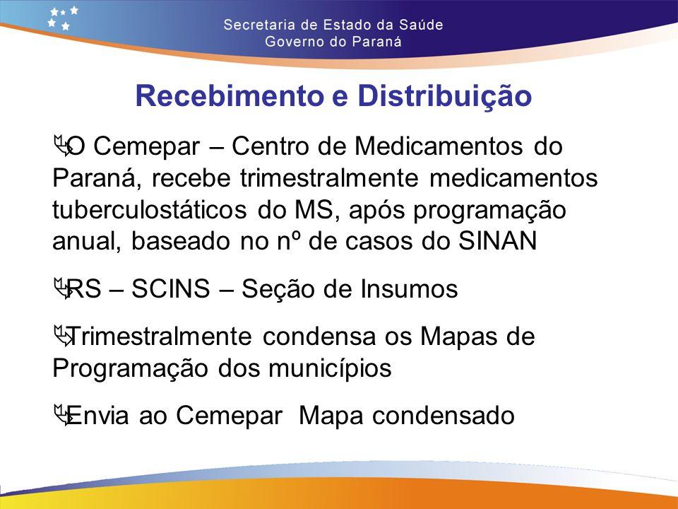 Recebimento e Distribuição  Cemepar – DVFME – Divisão Farmacêutica de Medicamentos Básicos e Estratégicos analisa os mapas e faz a programação da distribuição  Os medicamentos são distribuídos às RS, que repassam aos seus municípios de abrangência, conforme solicitação nos mapas