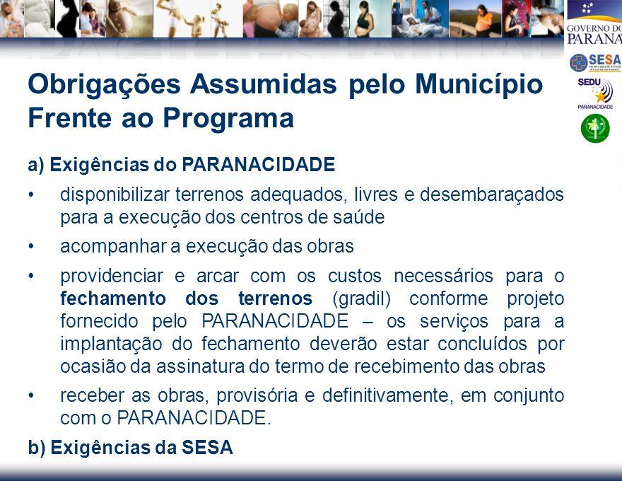 PACTO ESTADUAL PELA VIDA PACTO ESTADUAL PELA VIDA Obrigações Assumidas pelo Município Frente ao Programa a) Exigências do PARANACIDADE disponibilizar