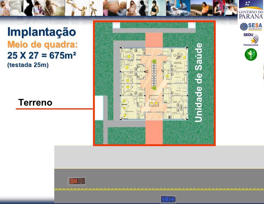 PACTO ESTADUAL PELA VIDA PACTO ESTADUAL PELA VIDA Implantação Meio de quadra: 25 X 27 = 675m² (testada 25m) Unidade de Saúde Terreno