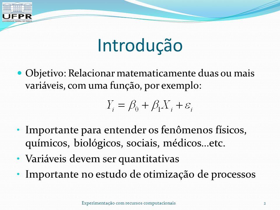 Introdução Objetivo: Relacionar matematicamente duas ou mais variáveis, com uma função, por exemplo: Importante para entender os fenômenos físicos, químicos, biológicos, sociais, médicos...etc.