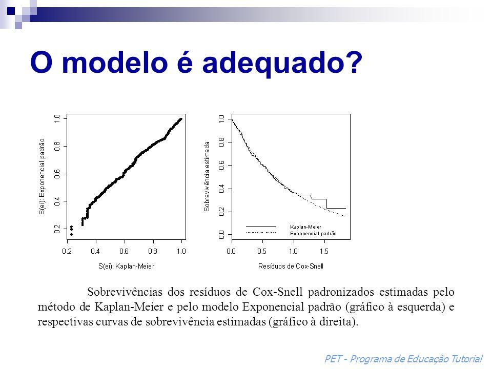 O modelo é adequado? Sobrevivências dos resíduos de Cox-Snell padronizados estimadas pelo método de Kaplan-Meier e pelo modelo Exponencial padrão (grá
