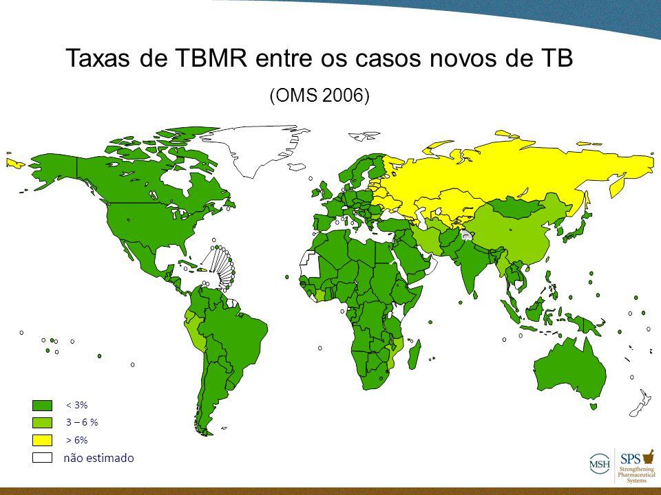 Taxas de TBMR entre os casos novos de TB (OMS 2006) 3 – 6 % não estimado > 6% < 3%