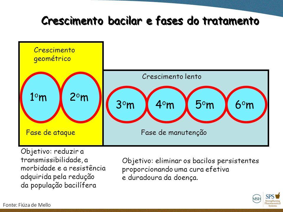 Crescimento bacilar e fases do tratamento 1om1om2om2om Objetivo: reduzir a transmissibilidade, a morbidade e a resistência adquirida pela redução da p