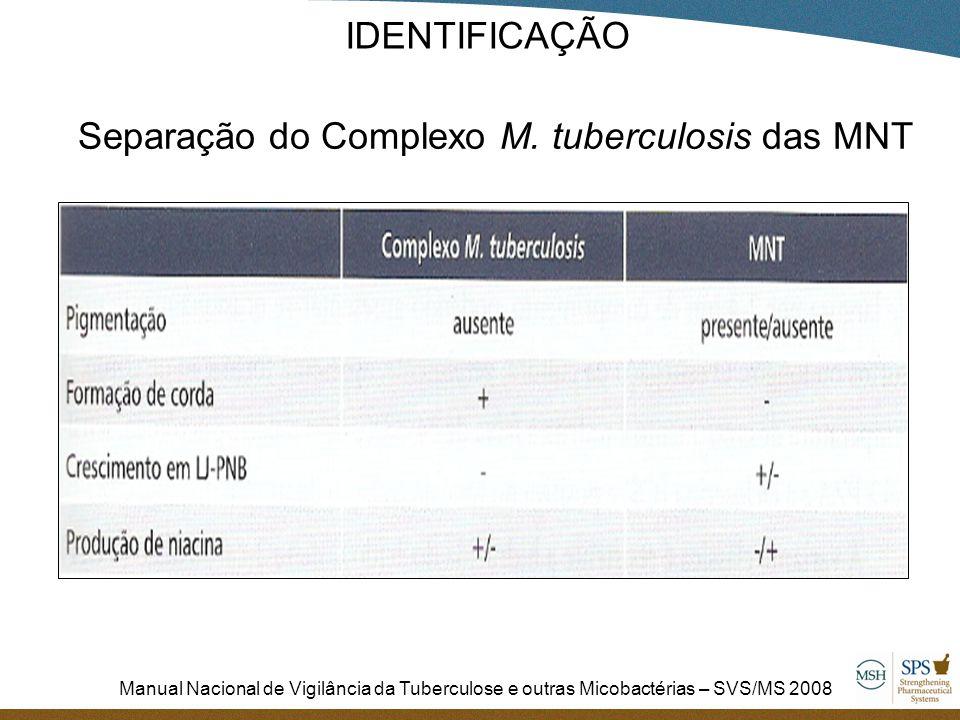Manual Nacional de Vigilância da Tuberculose e outras Micobactérias – SVS/MS 2008 Separação do Complexo M. tuberculosis das MNT IDENTIFICAÇÃO