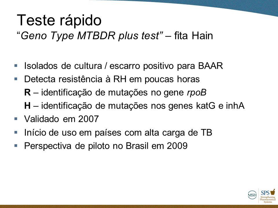 """Teste rápido """"Geno Type MTBDR plus test"""" – fita Hain  Isolados de cultura / escarro positivo para BAAR  Detecta resistência à RH em poucas horas R –"""
