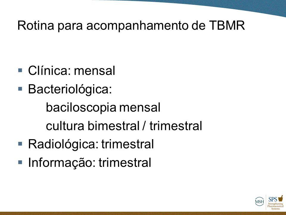 Rotina para acompanhamento de TBMR  Clínica: mensal  Bacteriológica: baciloscopia mensal cultura bimestral / trimestral  Radiológica: trimestral 