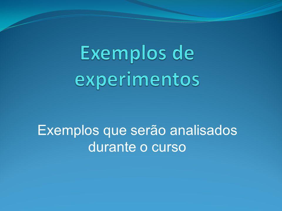 Exemplos que serão analisados durante o curso