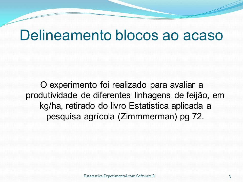 Estatística Experimental com Software R Delineamento blocos ao acaso O experimento foi realizado para avaliar a produtividade de diferentes linhagens de feijão, em kg/ha, retirado do livro Estatistica aplicada a pesquisa agrícola (Zimmmerman) pg 72.