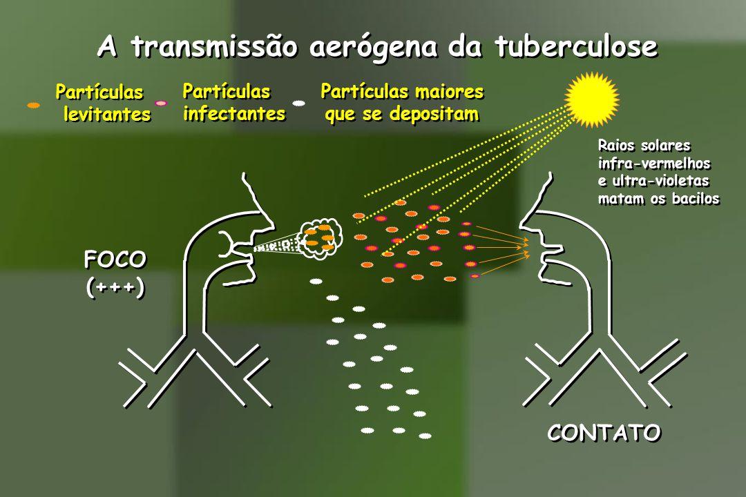 A transmissão aerógena da tuberculose FOCO (+++) FOCO (+++) CONTATO Partículas levitantes Partículas levitantes Partículas infectantes Partículas infectantes Partículas maiores que se depositam Partículas maiores que se depositam Raios solares infra-vermelhos e ultra-violetas matam os bacilos Raios solares infra-vermelhos e ultra-violetas matam os bacilos