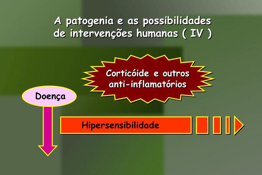 A patogenia e as possibilidades de intervenções humanas ( IV ) A patogenia e as possibilidades de intervenções humanas ( IV ) Hipersensibilidade Doença Corticóide e outros anti-inflamatórios Corticóide e outros anti-inflamatórios