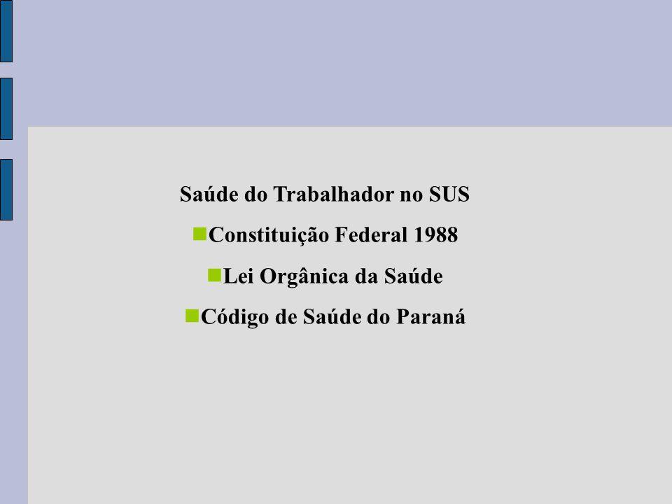 Saúde do Trabalhador no SUS Constituição Federal 1988 Lei Orgânica da Saúde Código de Saúde do Paraná