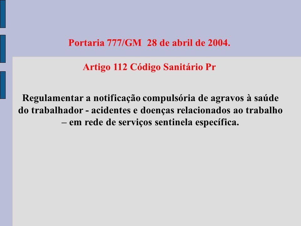 Portaria 777/GM 28 de abril de 2004. Artigo 112 Código Sanitário Pr Regulamentar a notificação compulsória de agravos à saúde do trabalhador - acident