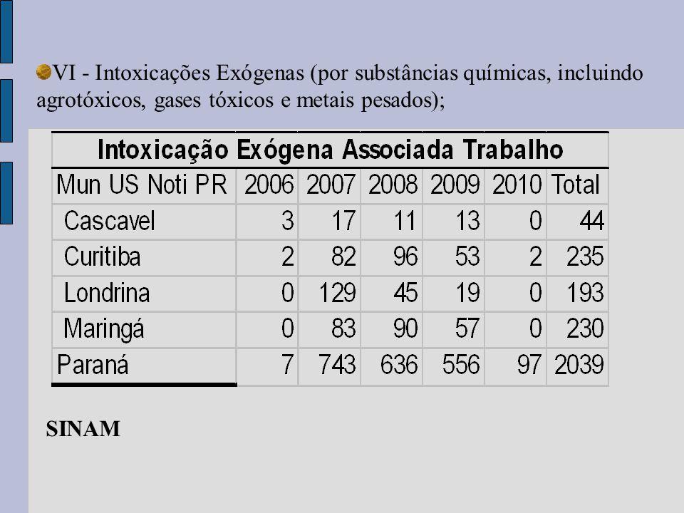 VI - Intoxicações Exógenas (por substâncias químicas, incluindo agrotóxicos, gases tóxicos e metais pesados); SINAM