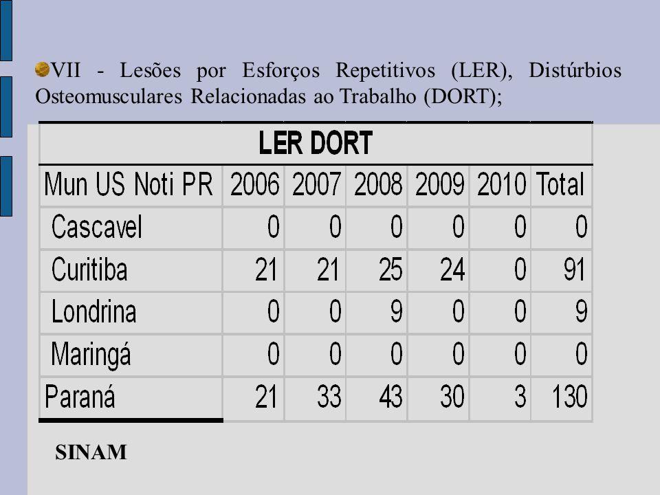 VII - Lesões por Esforços Repetitivos (LER), Distúrbios Osteomusculares Relacionadas ao Trabalho (DORT); SINAM