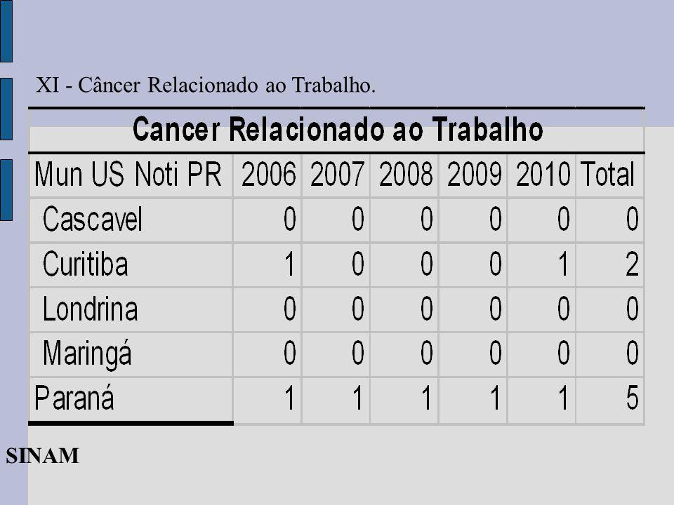 XI - Câncer Relacionado ao Trabalho. SINAM
