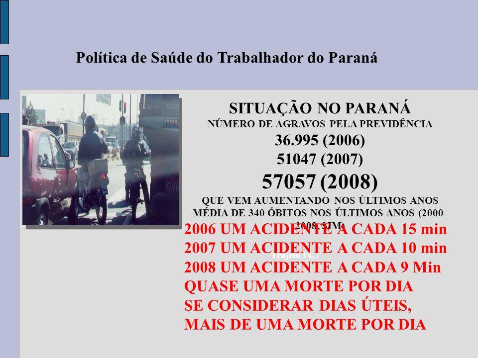 Trajeto 14,7 SITUAÇÃO NO PARANÁ NÚMERO DE AGRAVOS PELA PREVIDÊNCIA 36.995 (2006) 51047 (2007) 57057 (2008) QUE VEM AUMENTANDO NOS ÚLTIMOS ANOS MÉDIA D