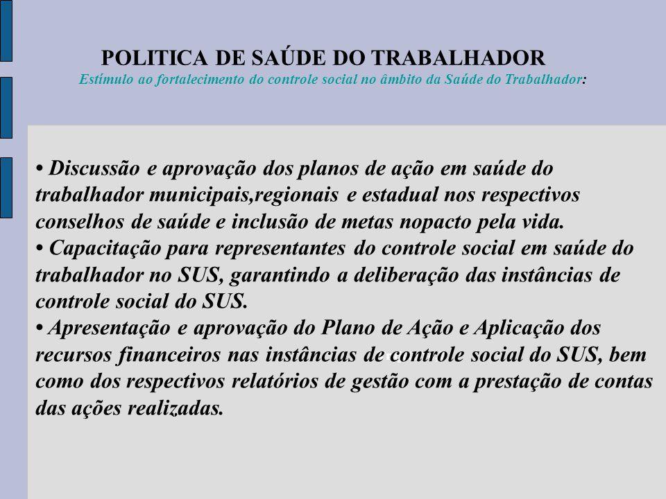 POLITICA DE SAÚDE DO TRABALHADOR Trajeto 14,7 Estímulo ao fortalecimento do controle social no âmbito da Saúde do Trabalhador: Discussão e aprovação d