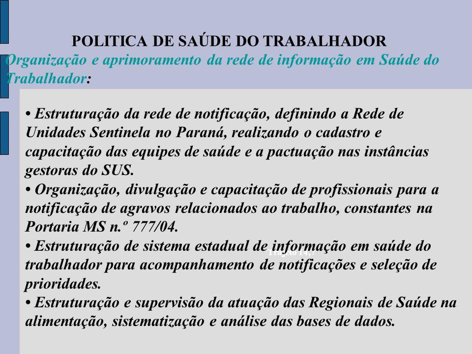 POLITICA DE SAÚDE DO TRABALHADOR Trajeto 14,7 Organização e aprimoramento da rede de informação em Saúde do Trabalhador: Estruturação da rede de notif