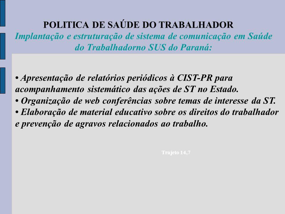 POLITICA DE SAÚDE DO TRABALHADOR Trajeto 14,7 Implantação e estruturação de sistema de comunicação em Saúde do Trabalhadorno SUS do Paraná: Apresentaç