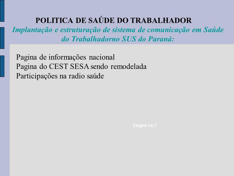 POLITICA DE SAÚDE DO TRABALHADOR Trajeto 14,7 Implantação e estruturação de sistema de comunicação em Saúde do Trabalhadorno SUS do Paraná: Pagina de