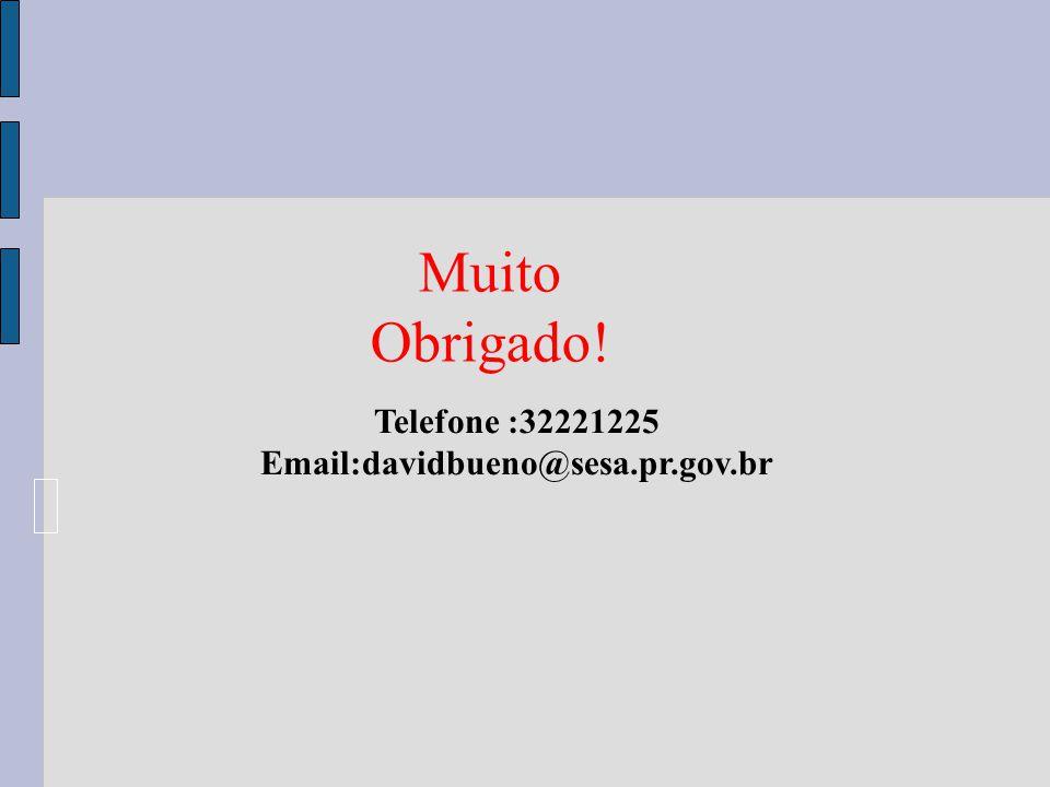 Muito Obrigado! Telefone :32221225 Email:davidbueno@sesa.pr.gov.br